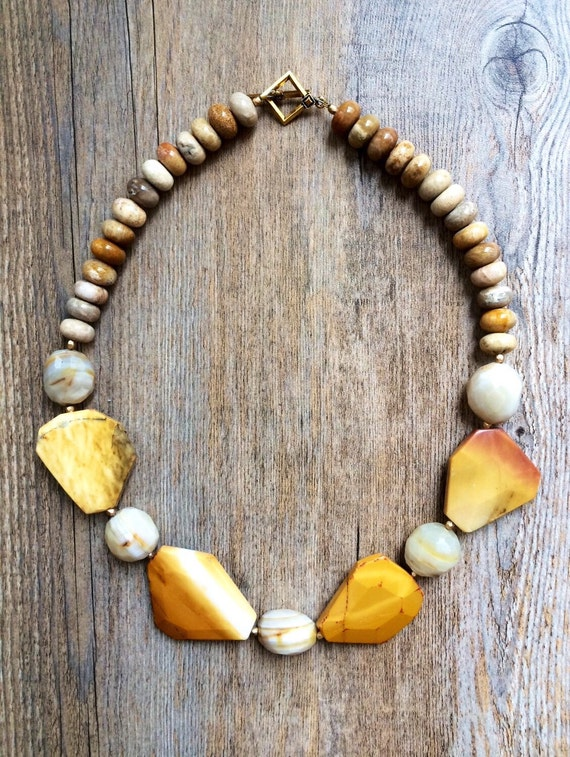 Coral necklace, Golden gemstone statement necklace, Moukite Jasper and Fossilized Coral necklace, Sun Goddess necklace, Iris Apfel Style