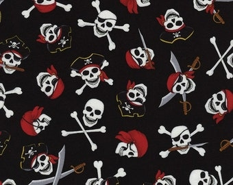 Skull and Crossbones Pirates on Black cotton fabric, by Timeless Treasures