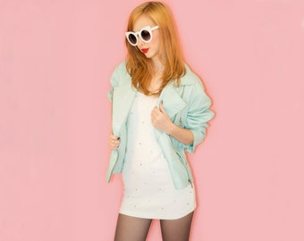 Vintage Mint Green Leather Jacket Moto Jacket Real Leather Pastel Oversized 80s 90s Andrew Marc L XL Sea Green Sea foam