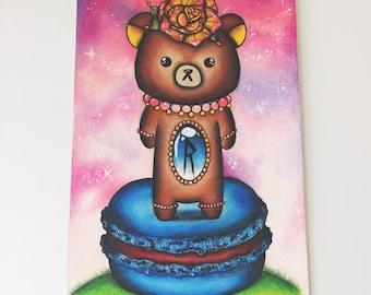 Rilakkuma Standing on Macaroon Galaxy Colored Pencil Drawing Art Print