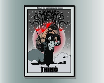John Carpenter's The Thing inspired Horror Movie Poster Print: minimalist vector art designed by Cult.Graphics