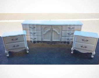 French Provincial bedroom set, white and silver dresser and side tables