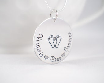 Hand stamped grandmothers necklace! Personalized mom necklace with names!