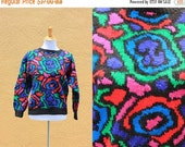 Vtg Hand knit Abstract Bold Multi-color sweater Unique one of a kind bright wool crazy