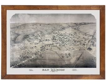 San Marcos, TX 1881 Bird's Eye View; 24x36 Print from a Vintage Lithograph