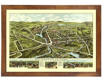 Wolcottville, CT 1875 Bird's Eye View; 24x36 Print from a Vintage Lithograph