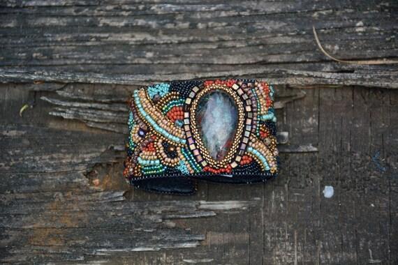 Bead embroidery sunset chrysacola cabachon buckskin leather