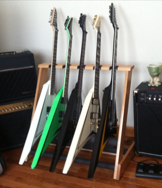 brand new 5 space red oak guitar stand custom built to hold jackson randy rhoads v 39 39 s and other. Black Bedroom Furniture Sets. Home Design Ideas
