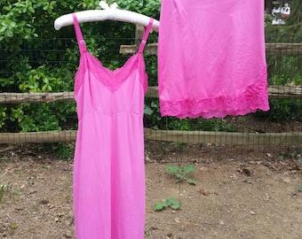 Vintage pink dyed slip dress + half slip skirt, Medium, 70s lingerie pinup nylon lace slip set