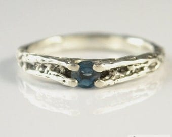 Fantasy natural London blue topaz handmade sterling silver ring