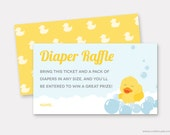 Rubber Duck Diaper Raffle Ticket Printable, Ducky Baby Shower Game, Duck Insert Card, Gender Neutral Diaper Raffle Cards, INSTANT DOWNLOAD