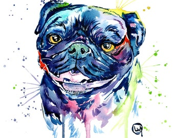 Pug Art, Black Pug, Dog Art, Pug Watercolour, Loose watercolor, Pug Print, Pug painting, Pug decor, modern decor, Pug Portrait, Pet Portrait