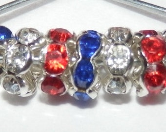 120 8mm Red, White(clear) &/or Blue SP Rhinestone Spacers AAA