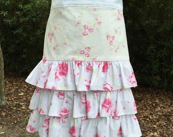 Shabby Chic Women's Floral Ruffled Half Apron