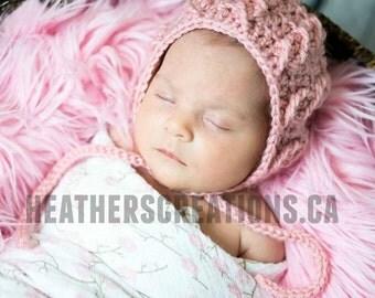 Pink Crochet Cable Bonnet