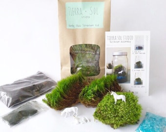 DIY Terrarium Kit - Medium, Moss Terrarium, Unicorn Terrarium