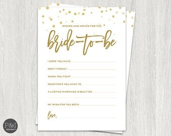Wishes and Advice for the Bride | Gold Bridal Shower Downloads and Games | Instant Download (5x7)
