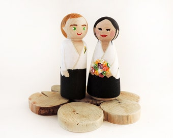 Married figures required to aikidokas / Cake toppers base log wood / peg doll custom / wedding figurines - A to customize
