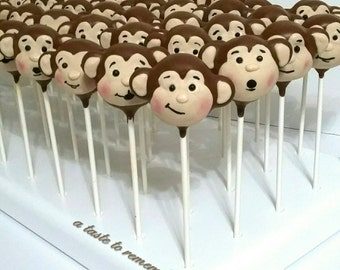 12 Silly Monkey Cake Pops - nursery rhyme, no more monkeys jumping on the bed, safari, jungle, zoo party