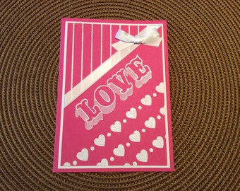 Handmade Greeting Card:  Valentine's Day card done in pink and white