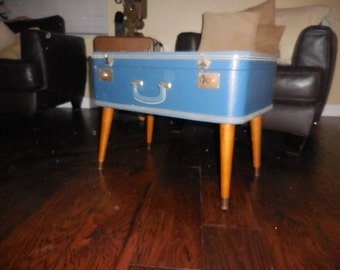 Blue suitcase coffee table