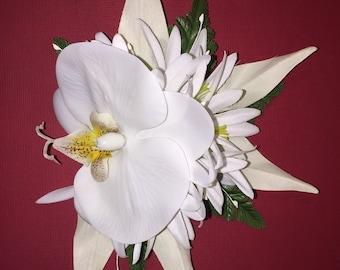 MAUNA KEA-Hawaiian hair clip.White orchid headpiece,Real Touch flower,Bridals,Hula Flowers,Pinups clips,Beach wedding,Tropical flowers hair