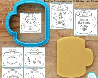 Hot Cocoa Mug, Coffee Cup, Perfume Bottle, Lunch Box, Fishing Tackle Box, Tool Box & Suitcase Cookie Cutter - *Guideline Sketches To Print*