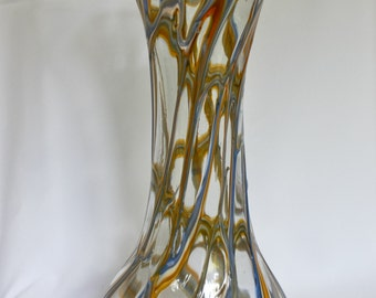 Hand made tall glas vase with applied glass threads in blue and yellow