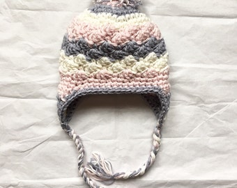 Chunky winter hat. Petal pink, lilac and white crochet hat. Extra soft girl hat. Ear flap hat. Multicolor baby girl hat. Modern baby hat.