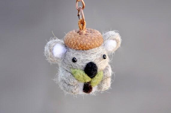 Amigurumi Koala Keychain : Needle felted koala miniature keychain amigurumi koala
