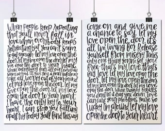 18x24 Set of 2 Hand Lettered Watercolor Wedding First Dance Song Lyrics
