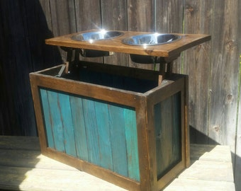 Delightful Raised Dog Feeder With Storage, Elevated Feeder, Distressed Pet Feeder,  Teal, Pet