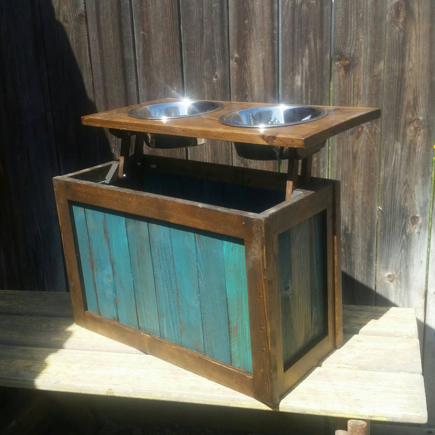 Raised Dog Feeder With Storage Elevated Feeder Distressed