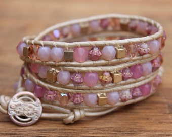 Pink & gold triple wrap bracelet
