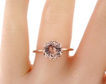 14K Rose Gold Morganite Ring Wedding Ring Engagment Ring Promise Ring Anniversary Ring Infinity Band White Gold Yellow Gold 18K Art Deco