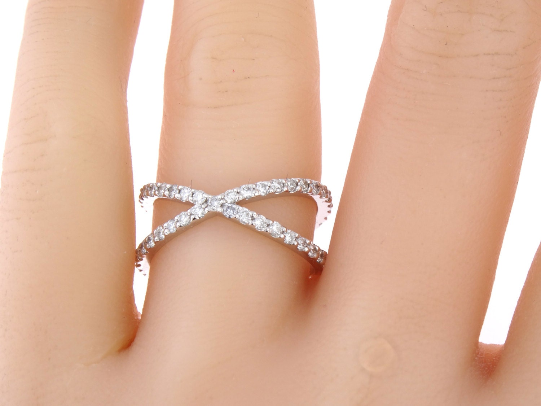 14k White Gold Diamond Eternity X Band Criss Cross Ring Wedding Fashion Anniversary Split Shank Yellow Rose