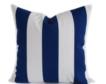 Outdoor blue pillow cover, 20x20, Outdoor throw pillow, Outdoor cushion, Blue and white stripe pillow, Decorative pillow, Blue accent pillow