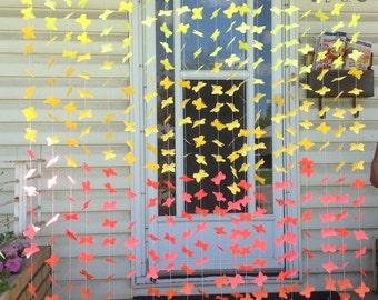 10 Strands- Yellow Orange Paper Butterfies Backdrop