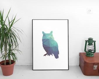 Owl printable art, geometric owl print, owl wall art, owl decor, abstract owl, minimal wall art, geometric print, ocean art print