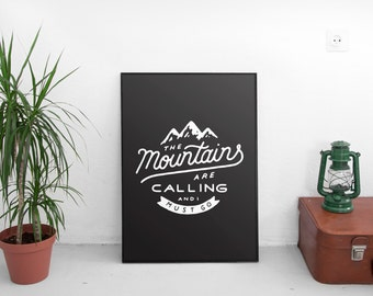 The Mountains are Calling Print Black, Printable Art, Mountains Print, Mountain Art, Nursery Decor, Rustic Decor, Quotes