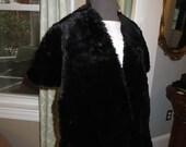 Vintage Black Seal Fur Stole Cape