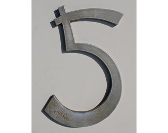 "Metal Number 5 - 14"" Tall"