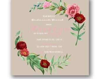 Botanical Bridesmaids Brunch Square Invitation