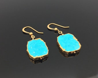 Sliced Turquoise Gold Earrings // Free Form Gold Dipped in 18k Gold Vermeil // Hook Ear Wires