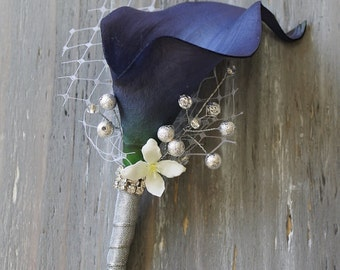 Wedding Boutonniere Grooms Boutonniere Groomsman Boutonniere Navy Blue Calla Lily Boutonniere  Wedding Boutonniere  Boutonniere Weddings