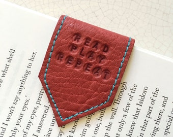 Magnetic Bookmark | Leather Bookmark Pale Wine Red with Sky Blue Suede Lining | Personalise Bookmark | 3rd Anniversary Gift | Page Marker