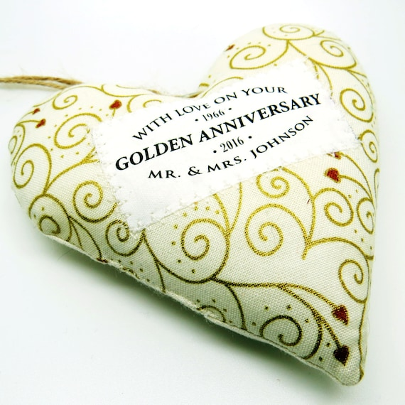 Golden Wedding 50th Anniversary Gift Personalised Fabric