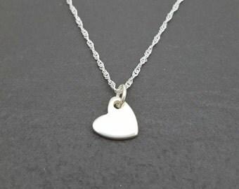 Small fine silver heart pendant