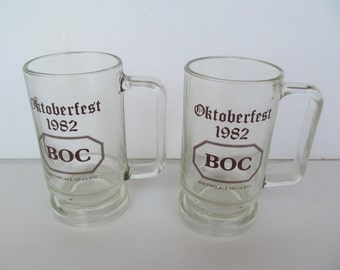 Vintage  Glass  Beer Stein - Octoberfest 1982   set of 2 steins