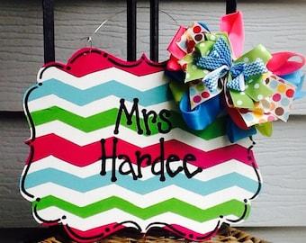 Teacher door hanger, chevron sign, chevron teacher sign, teacher sign, teacher door sign, school door sign, classroom door sign, school sign